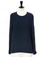 Top manches longues en crêpe et satin bleu nuit Px boutique 450€ Taille 36