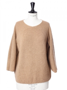 Extra soft camel hair fine ribbed knit sweater Retail price €240 Size XS
