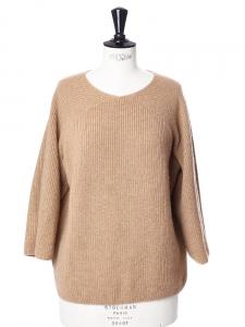 Pull en laine épaisse et très chaude beige camel Px boutique 240€ Taille XS
