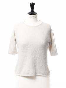Cream white silk and cashmere crew neck short sleeved sweater Retail price €180 Size 34
