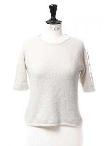 Pull manches courtes col rond en soie et cachemire épais blanc crème Px boutique 180€ Taille 34