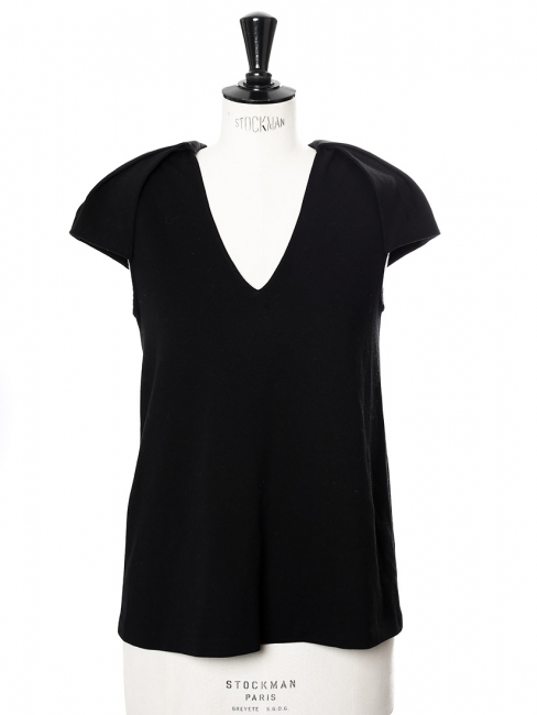 Black stretch cady V neck top with epaulettes Retail price €450 Size 36