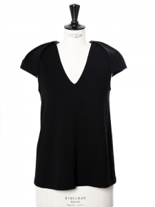 Black stretch cady V neck top with epaulettes Retail price €450 Size 34/36