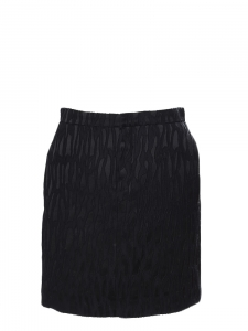Black textured silk straight cut skirt Retail price €800 Size 36/38