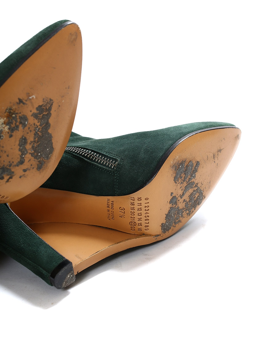 louise paris maison margiela hunter green suede wedge heel ankle boots new retail price 650. Black Bedroom Furniture Sets. Home Design Ideas