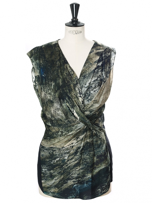 Green black marble printed silk draped sleeveless top Retail price €250 Size 36
