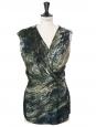 Green black marble printed silk draped sleeveless top Retail price €250 Size 36
