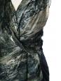 Top sans manches en soie à drapé asymétrique imprimé marbre vert Px boutique 250€ Taille 36