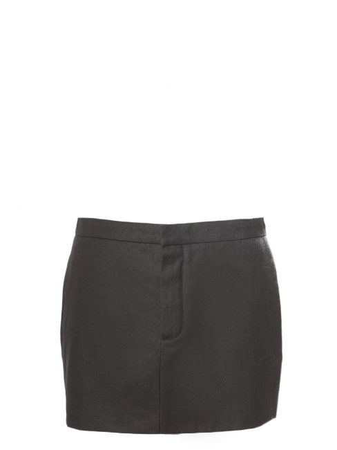 Dark khaki green wool and cotton mini skirt Retail price €500 Size 36/38
