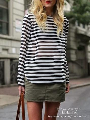 Louise Paris CHLOE Mini jupe en laine et coton kaki foncé