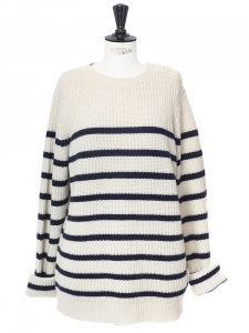 Ecru and navy blue striped ribbed knit sweater NEW Size L
