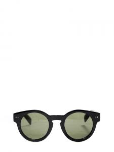 Black round shape sunglasses with dark green lens