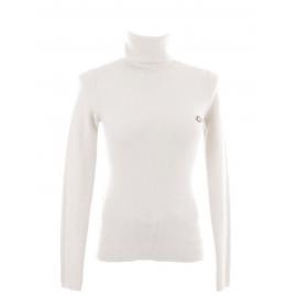 Pull col roulé en maille côtelée de laine et cachemire blanc Prix boutique 280€ Taille 36