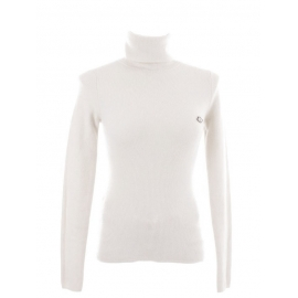 White wool and cashmere ribbed knit turtleneck sweater Retail price €280 Size 36