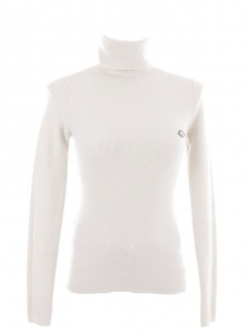 White wool and cashmere ribbed knit turtleneck Retail price €280 Size 36