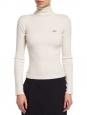 Pull col roulé en maille côtelé de laine et cachemire blanc Px boutique 280€ Taille 36