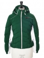 Alpine Line green white and black technic hooded slim fit ski jacket Retail price €700 Size 36