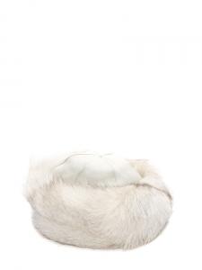 Chapeau bonnet en fourrure et cuir blanc Taille S