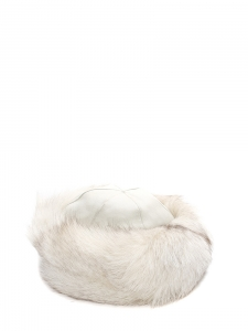White fur and leather hat Size S