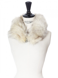 Ecru white and light grey fur scarf