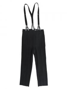 ALEXANDER MCCQUEEN Salopette slim fit cropped en crepe noir et bretelles empiècements cuir Px boutique 550€ Taille 36