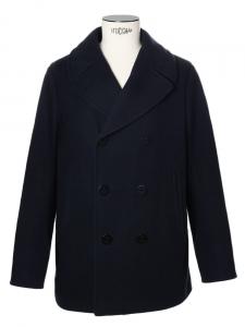Manteau caban Homme en laine melton mélangée bleu marine Px boutique 800€ Taille XL