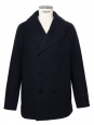 Navy blue melton wool-blend peacoat Retail price €800 Size XL