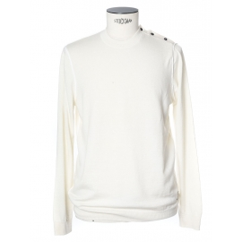 Pull col rond manches longues en maille fine blanc écru Taille L