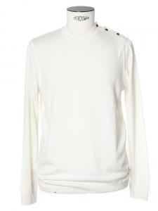 Ecru white fine knit crew neck sweater Size L