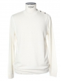 Ecru white fine knit crew neck sweater Size L