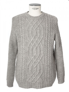 ARAN Grey heavy knitted wool jumper Retail price €290 Size XL