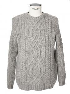 Pull Aran en grosse maille de laine grise Px boutique 290€ Taille XL