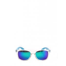 Lunettes de soleil verres miroir monture transparente bleu fluo NEUVES