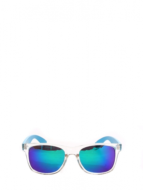 Lunettes de soleil verres miroir monture transparente bleu fluo NEUVES c05dd59775c0