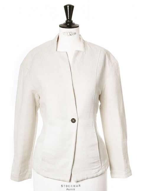 Cream white cotton cinched blazer jacket with raglan sleeves Retail price €350 Size 36