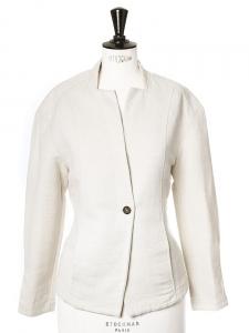 Veste blazer en coton tissé beige clair Px boutique 350€ Taille 36