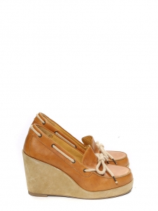 Camel brown leather and beige suede wedge loafers Retail price €330 Size 38.5