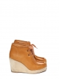 Camel brown leather and suede wedge ankle boots Retail price €325 Size 39