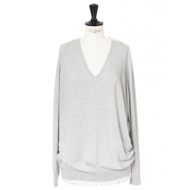Heather grey silk cashmere and cotton long sleeves v neck jumper Retail price €180 Size 40/42
