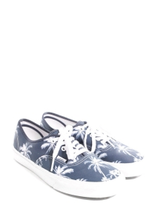 Denim blue canvas printed with palm trees Size 42