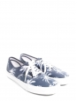 Denim blue canvas printed with palm trees classic era sneakers Size 42