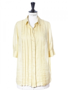 Yellow beige silk and ramie short sleeved top Retail price €450 Size 36/38