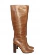 Bottes hautes à talon bois en cuir marron caramel Px boutique 1000€ Taille 37,5