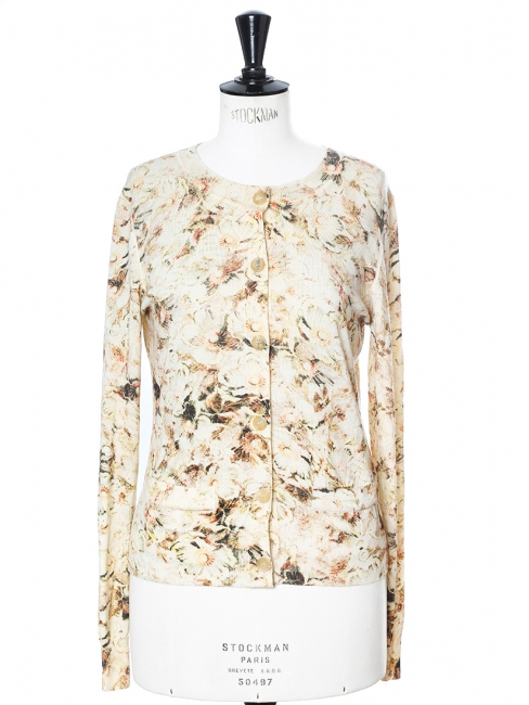 Beige floral printed fine wool cardigan NEW Retail price €800 Size 36/38