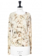 Gilet cardigan en maille fine de laine imprimé fleuri beige Prix boutique 800€ Taille 36/38