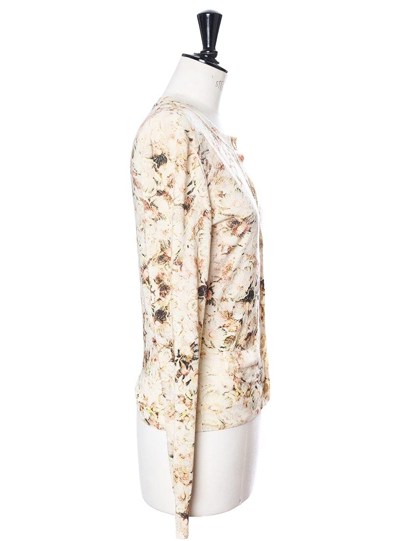 louise paris chloe gilet cardigan en maille fine de laine imprim fleuri beige prix boutique. Black Bedroom Furniture Sets. Home Design Ideas