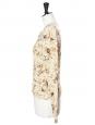 Gilet cardigan en maille fine de laine imprimé fleuri beige Px boutique 800€ Taille 36/38