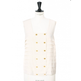 Ivory white silk crepe tank top with gold buttons Retail price €800 Size 38
