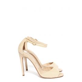 Sandales à talon NAKED en suède beige crème bride cheville Px boutique 560€ Taille 38,5