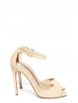 NAKED Cream beige suede open toe ankle strap heeled sandals NEW Retail price $595 Size 38.5